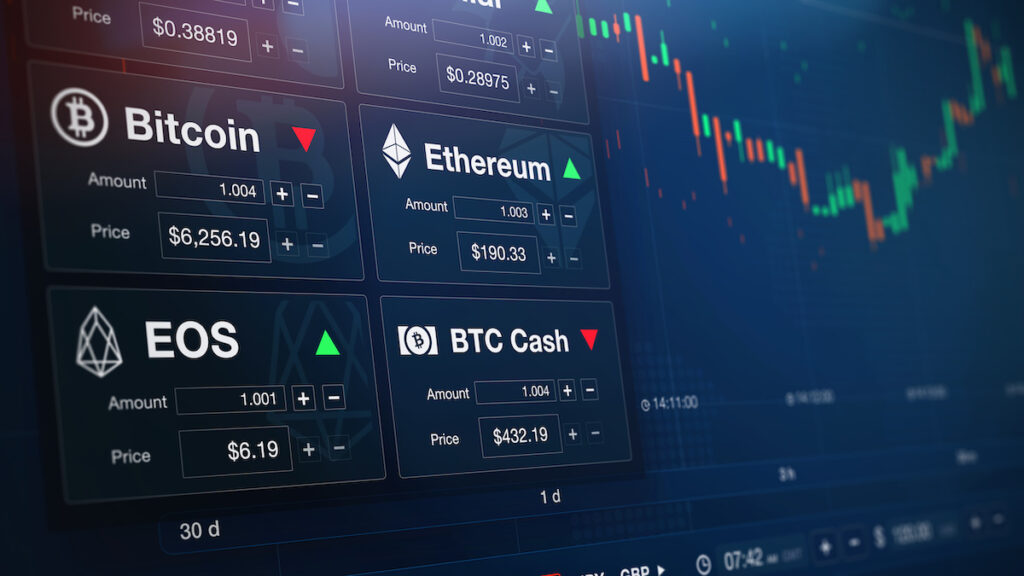 Modern stock exchange (crypto currency) with chart and numbers (3D illustration)